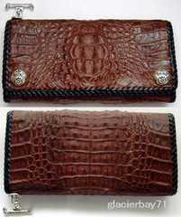 シルバー925Tバー付ブラウンクロコダイル三つ折財布ウォレット