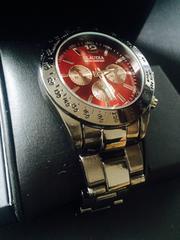 人気モデル!渋い黒&赤メタル腕時計★Club Face2