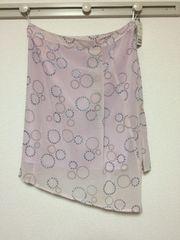 新品:ウエスト88�p:薄紫ドット柄、膝丈台形スカート