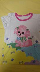 即決☆120�a白の犬柄半袖Tシャツ