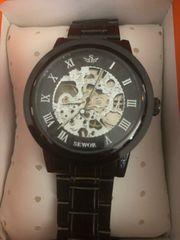 ALPS 手巻き腕時計 オールブラック 裏スケルトン