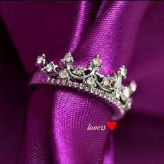 送料無料16号シルバースーパーCZダイヤクラウン王冠リング指輪