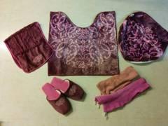 ダマスク柄ピンク紫色トイレカバーセット