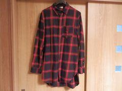 H&M 赤×黒チェック長袖シャツ ロング丈