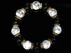 即決ヤクザホストオラオラ系/オニキス&ハウライト数珠ブレスレット81/魔除け厄除け開運