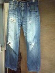 リーバイス543色落ちダメージジーンズ
