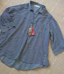 3L★ストライプ★シフォンスキッパーブラウス★着痩せシャツ★新品★大きいサイズ