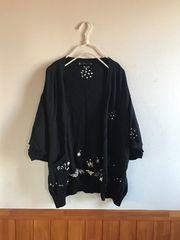 フランシュリッペ☆ゆったり刺繍のカーディガン黒