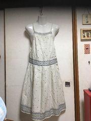 新品3can4onチロリアン花柄サロペットワンピース白ホワイト春夏