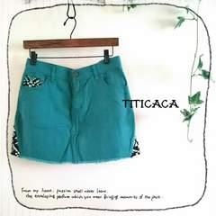 ((TITICACA/チチカカ))極美品♪ネイティブ柄アクセントのカットオフカラーデニムスカート