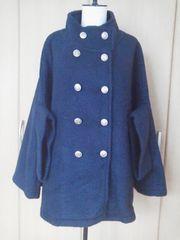 ランゲージしっかり厚手コート流行りの紺色
