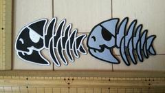NO.178 アイロンワッペン 2枚セット 骨 魚