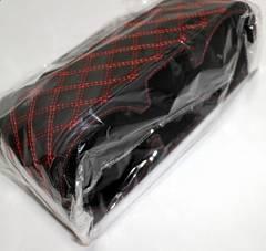 コンソールボックス �Aレザー調 キルティングステッチ 黒×赤