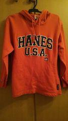 HANES◇男子130cmパーカートレーナー◇オレンジ