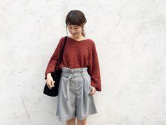 新品!Kastane☆ベルト付きタックショートパンツ ブラック系F