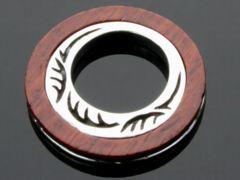 【PE-N002】SILVER925天然木 サークルウッドシルバーペンダント