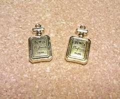小さな香水瓶チャームコンビカラー2個(G+金古美)