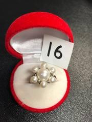 送料無料!新品 Pt プラチナ 本物 真珠 リング 指輪 16号