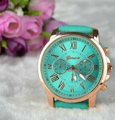 1円〜◆Roman Number mint Green belt Watch