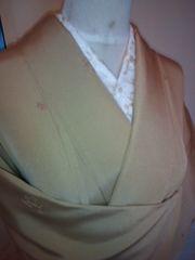 山吹飛び柄刺繍正絹袷美品154裄長