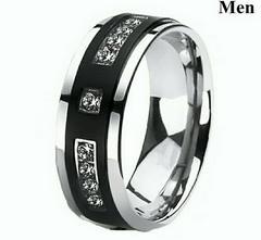 1円〜◆Black enamel stainless Ring20号
