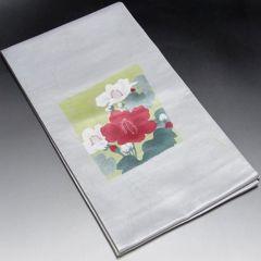 【袋帯】正絹 薄いブルーグレー地 椿の花柄