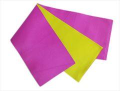 浴衣ゆかた&袴に 長尺ロング無地リバーシブル半巾帯半幅帯明紫明黄色