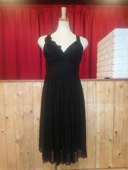 L ミディアムドレス ブラック パワーネット フレア 新品 E1815