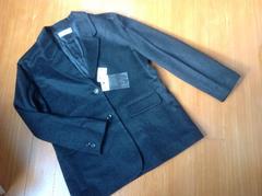 新品13号L位カシミヤ入高級ウールテーラードジャケットコート黒