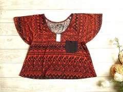 新品 Durer 黒 オレンジ エスニック柄 半袖 カットソー Tシャツ