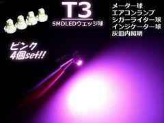 SMD LED 12V T3  ピンク/パネル・メーター球/4個 セット