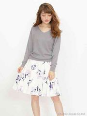 オリジナルオータムリリー柄スカート。白×パープル