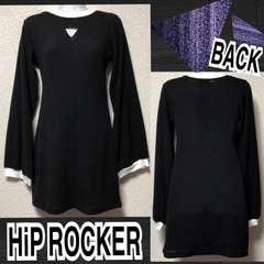 【新品/HiP ROCKER】胸元トライアングルカットリブニットワンピ