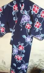 浴衣 濃紺に椿柄