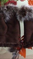 ☆新品未使用☆防寒対策おしゃれなファー指出しハネ付き手袋