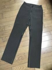 アニエスベー 裾スリット ストライプ柄ブラック黒パンツ