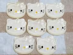 D ☆ 8 コ ☆ キティ フェイス (白) ラメ入り 半透明 ☆ 約 2 cm ☆ デコパ