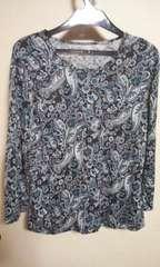素敵なカットソーL 7分袖 絹100 黒系
