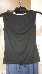 黒ノースリーブカットソー裾しぼり調節可能涼しいポリエステルM