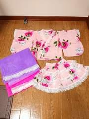 美品 韓国子供服 浴衣ドレス 4点セット 3段フリル