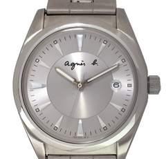 正規アニエスベー時計メンズ腕時計ウォッチクォーツシルバーステンレスagnes b.