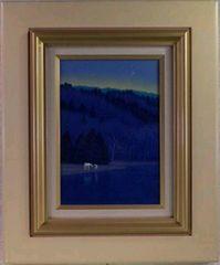 絵画 油彩 富谷一明『馬のいる風景』真作保証