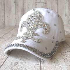 帽子♪ビジュー デコ キャップ フルール ホワイト