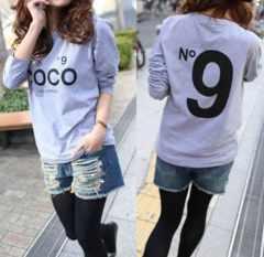 新品【7128】6L(大きいサイズ)COCOプリントグレー長袖Tシャツ
