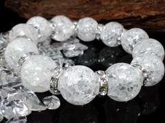 クラック水晶16ミリ§爆裂水晶銀ロンデル数珠
