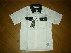 新品クライミーCRIMIE半袖ワークシャツS白黒RICHLAND