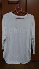 HusHusH  オーバーサイズ ロゴいりTシャツ  7分袖 白