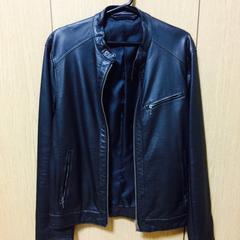 メンズ GU ジーユー シングルライダースジャケット
