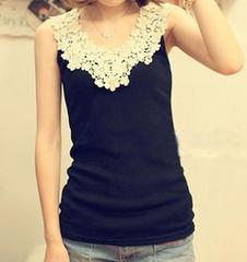 *【3L】大きいサイズ*Cute♪flower刺繍タンクトップ 黒 ブラック 即決
