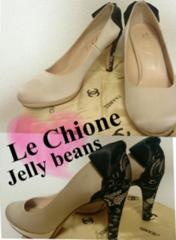 Jellybeans◆バックリボン×花柄レース配色セパレートサテンパンプス日本製24�a